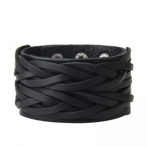 Double Deck Two Strand Leather Braid Bracelet -