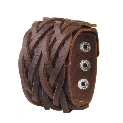 Outfits Double Deck Two Strand Leather Braid Bracelet