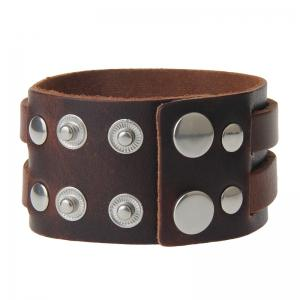 Punk Personality Double Deck Leather  Men's Night Club Performance Bracelet -