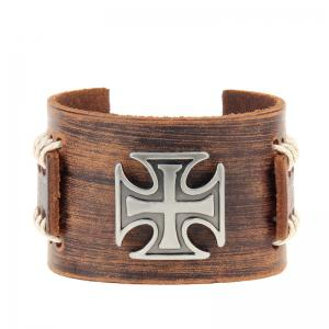 Fashion Leather Rope Cross Alloy Leather Bracelet -