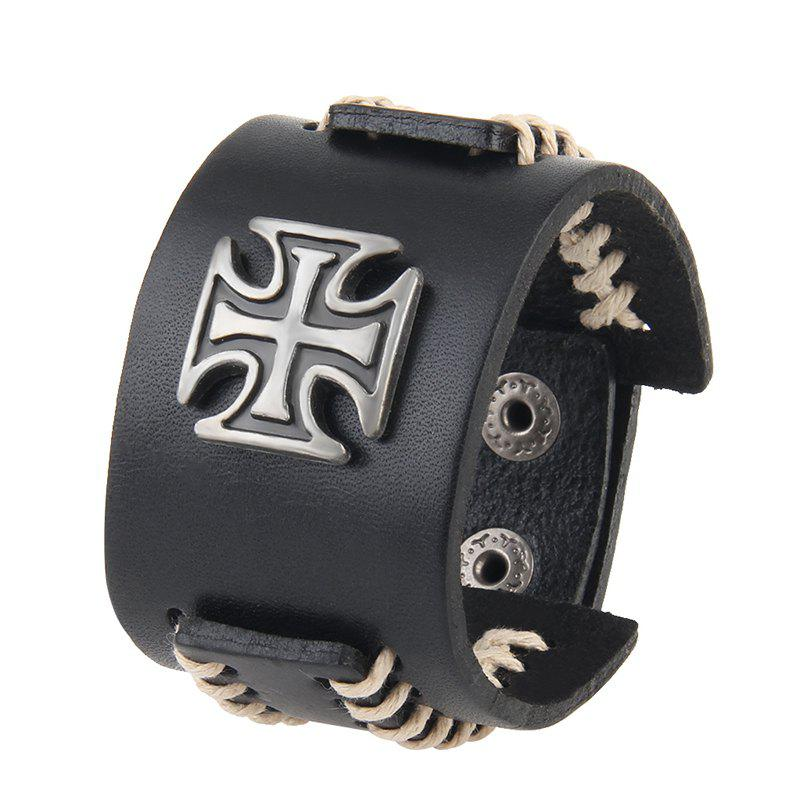 Buy Fashion Leather Rope Cross Alloy Leather Bracelet