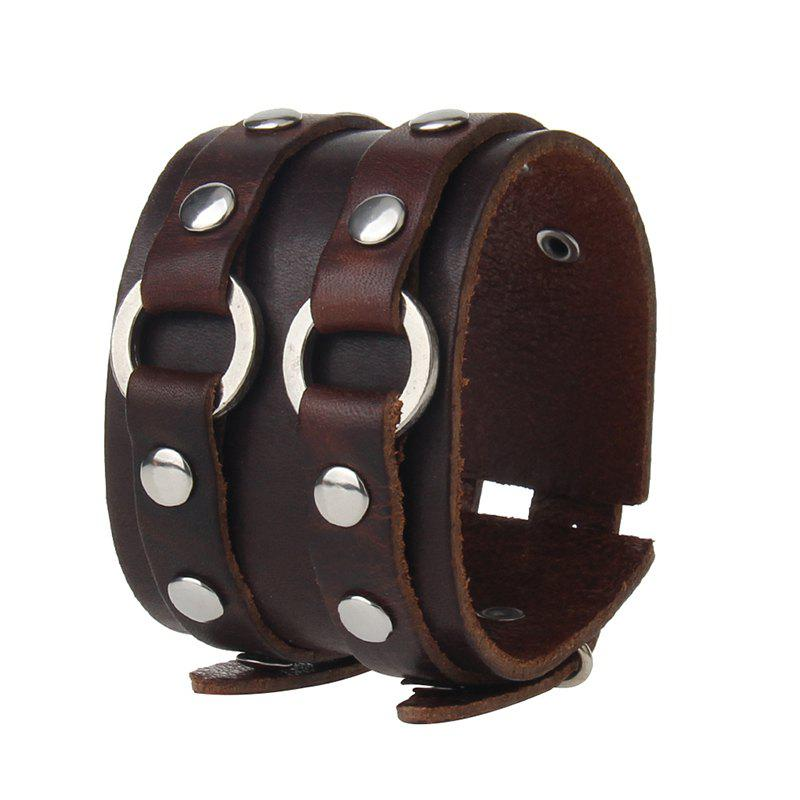 Cheap Punk Hand Ornaments Double Layer Wide Cowhide Rivet Bracelet