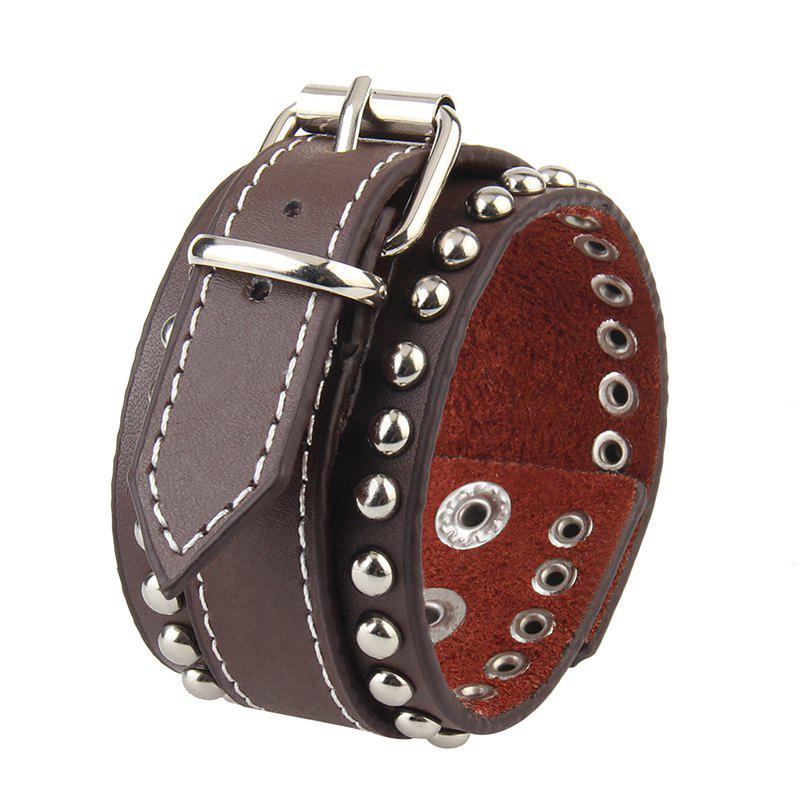 New Fashion Jewelry Personality All-match Leather Watchband Buckle Punk Bracelet