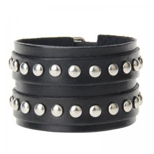 European and American Fashion Hand Made Double Deck Cowhide Rivet Wide Leather Bracelet -