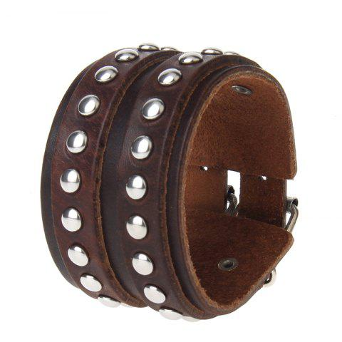 Outfits European and American Fashion Hand Made Double Deck Cowhide Rivet Wide Leather Bracelet