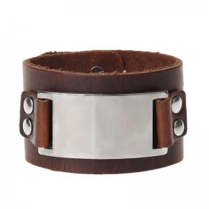 Hand Ornament Personalized Fashion Wide Leather Alloy Bracelet -
