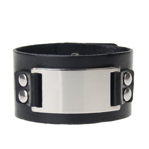 Chic Hand Ornament Personalized Fashion Wide Leather Alloy Bracelet