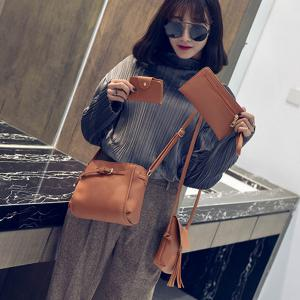 Women's Shoulder  Stylish Solid Color Bucket Cross-body Bag -