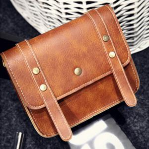 Women's Crossbody Vintage Faux Leather Studded Bag -