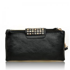 Women's Clutch Bag Simple Solid Rivets Decor Rectangle Purse -