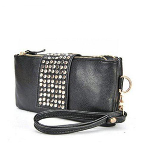 Online Women's Clutch Bag Simple Solid Rivets Decor Rectangle Purse