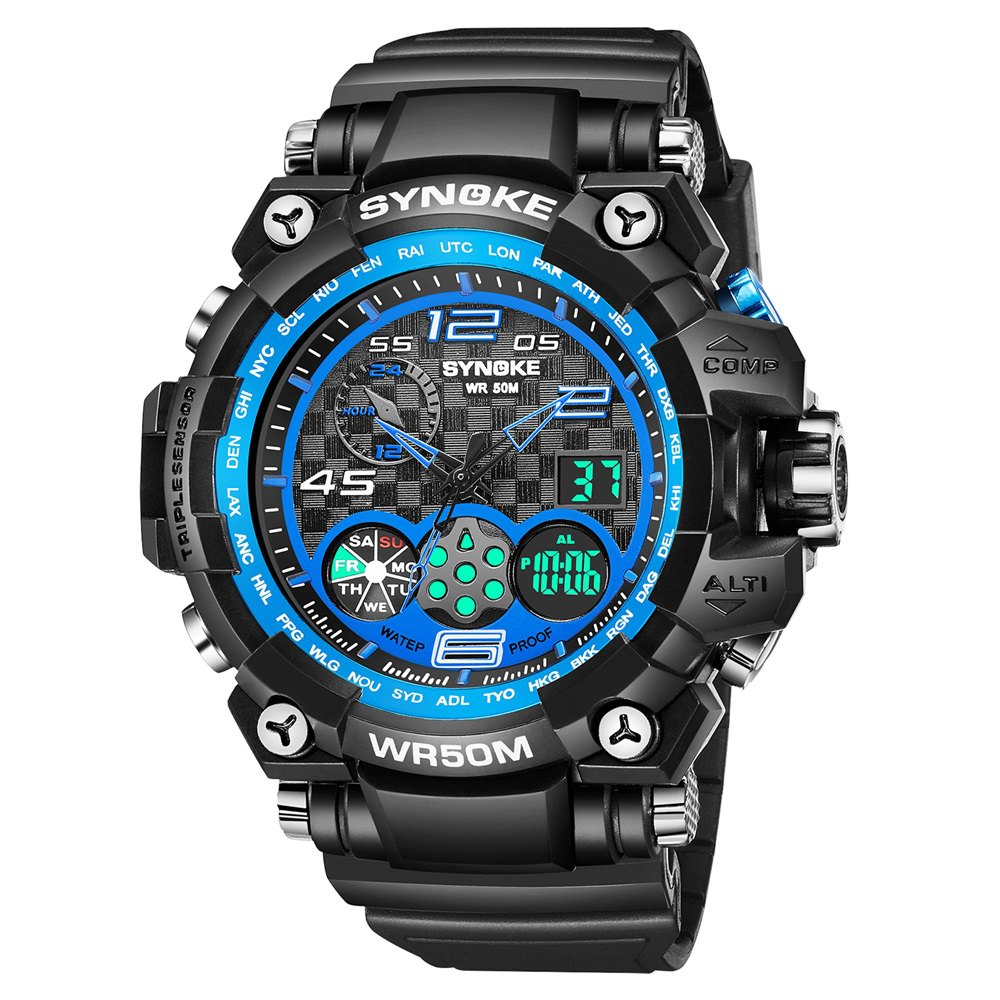 Hot SYNOKE 67386 Trendy Sports Multifunctional Man Watch