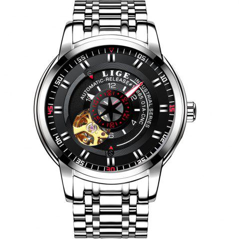 Outfit LIGE 9824 4838 Business Casual Men Automatic Mechanical Steel Band Watch