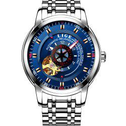LIGE 9824 4838 Business Casual Men Automatic Mechanical Steel Band Watch -
