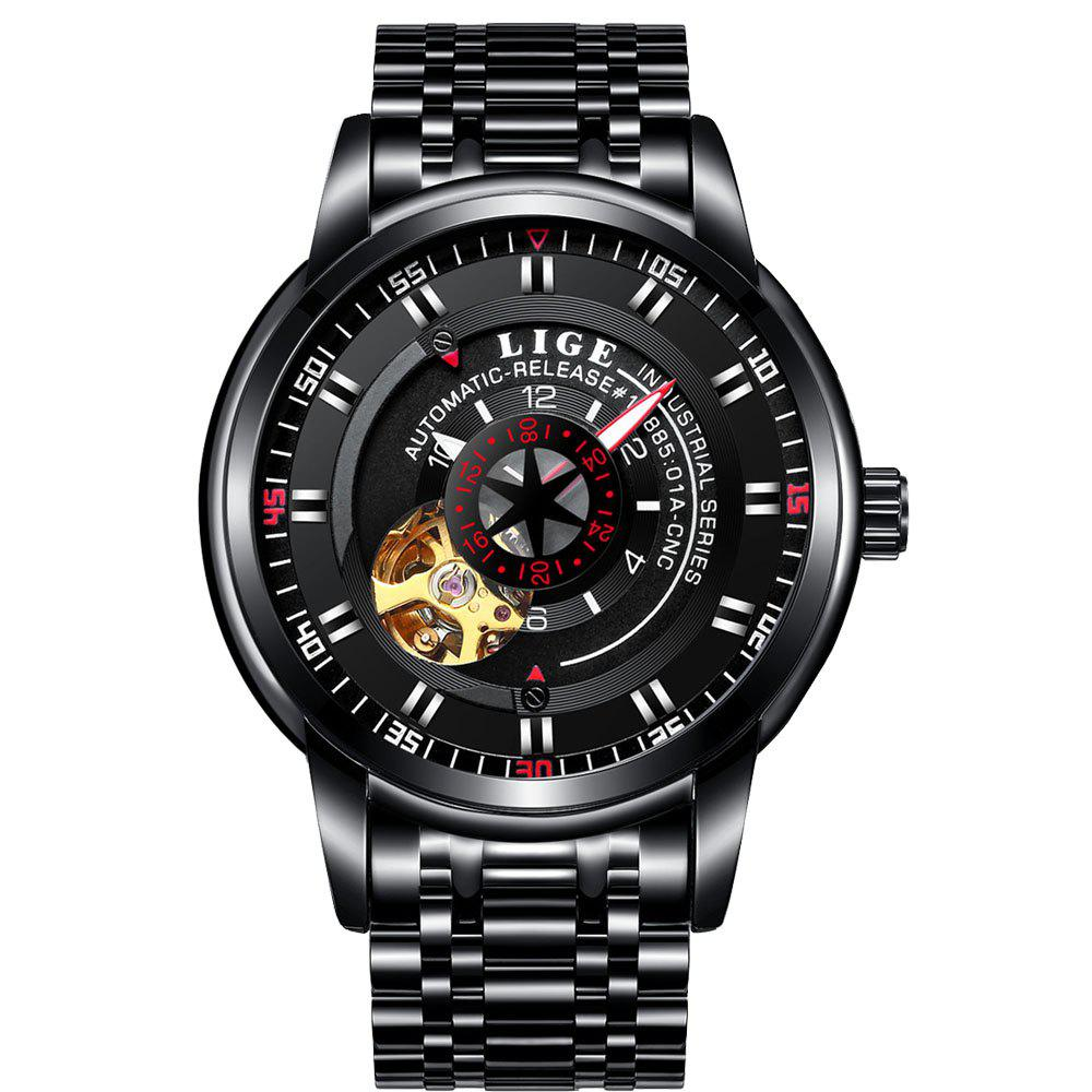 Best LIGE 9824 4838 Business Casual Men Automatic Mechanical Steel Band Watch