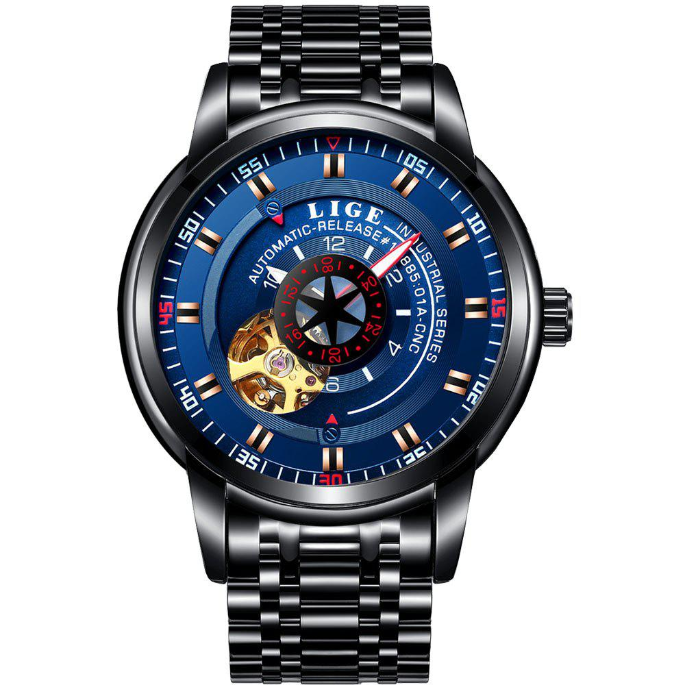 Cheap LIGE 9824 4838 Business Casual Men Automatic Mechanical Steel Band Watch