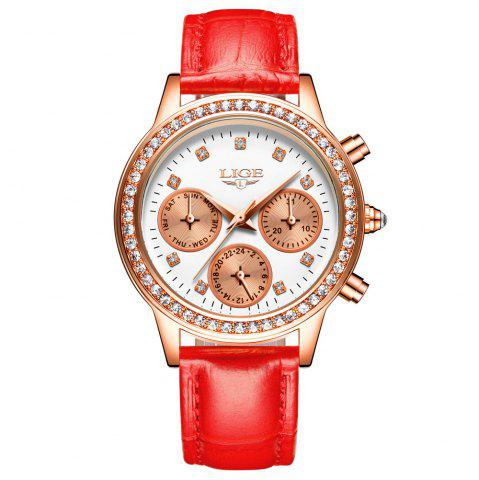 Affordable LIGE 9805 4861 Fashionable Casual Leather Band Women Quartz Watch