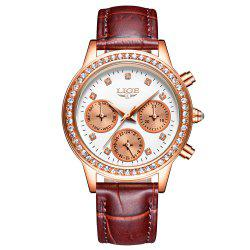 LIGE 9805 4861 Fashionable Casual Leather Band Women Quartz Watch -