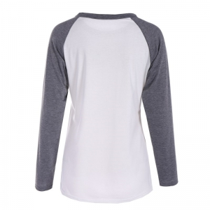 Gray and White Print  T-shirt -