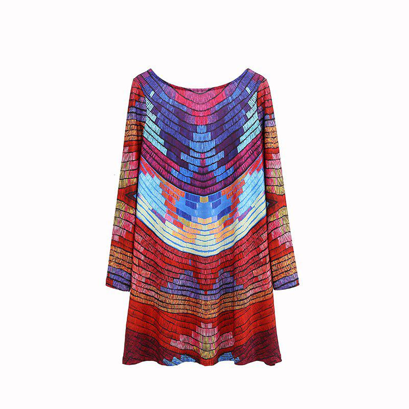 Latest Chromatic Stripe Backless Dress