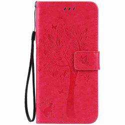 Embossed Cat and Tree PU TPU Phone Case for iPhone 7 Plus / 8  Plus -