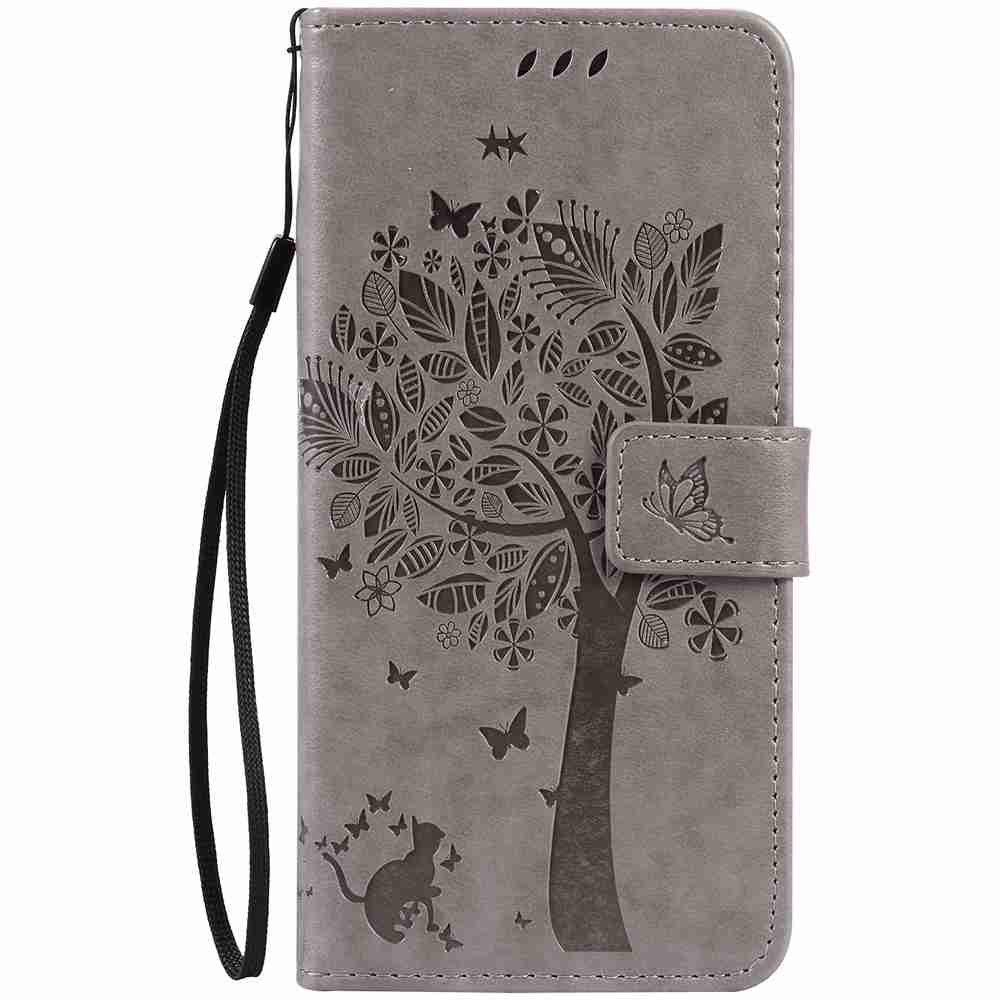 Fancy Embossed Cat and Tree PU TPU Phone Case for iPhone 7 Plus / 8  Plus