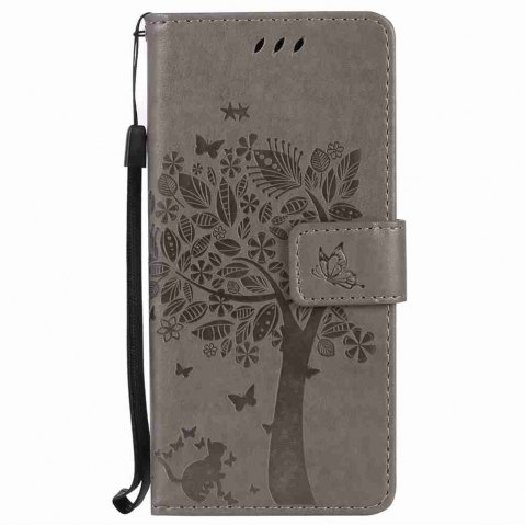 Latest Embossed Cat and Tree PU TPU Phone Case for Samsung Galaxy S8