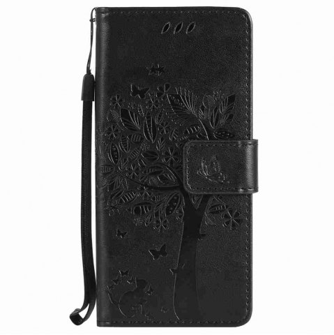 Shops Embossed Cat and Tree PU TPU Phone Case for Samsung Galaxy S8