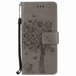 Embossed Cat and Tree PU TPU Phone Case for Samsung Galaxy S8 -