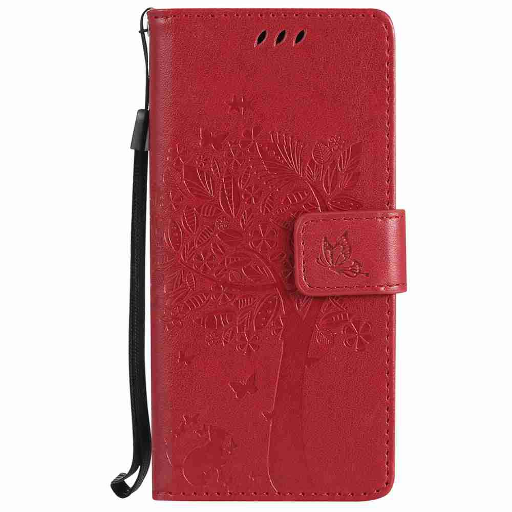Outfits Embossed Cat and Tree PU TPU Phone Case for Samsung Galaxy S8
