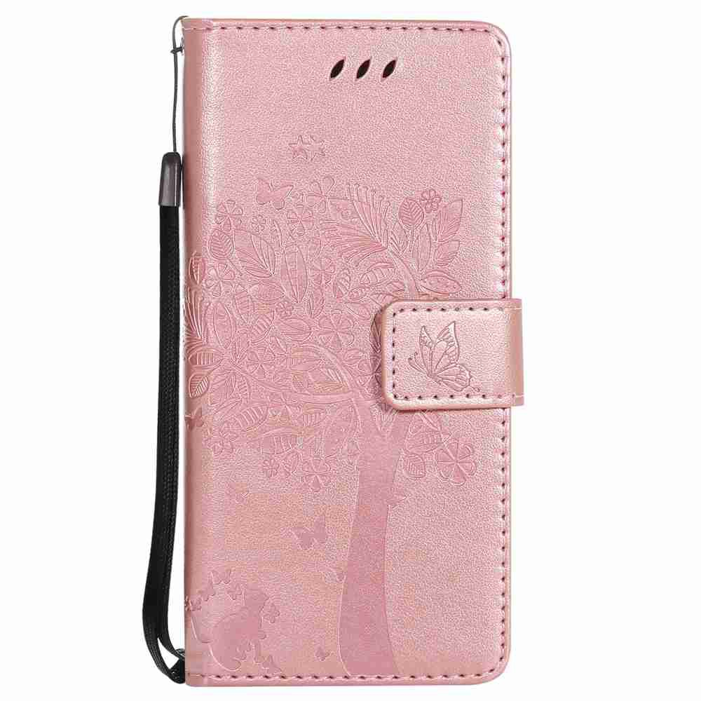 Chic Embossed Cat and Tree PU TPU Phone Case for Samsung Galaxy S8