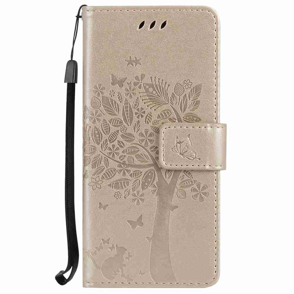 Cheap Embossed Cat and Tree PU TPU Phone Case for Samsung Galaxy S8