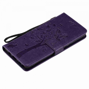 Embossed Cat and Tree PU TPU Phone Case for  Samsung Galaxy Note 8 -