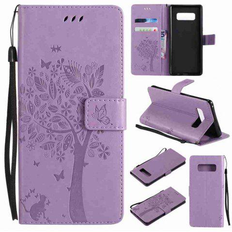 Buy Embossed Cat and Tree PU TPU Phone Case for  Samsung Galaxy Note 8