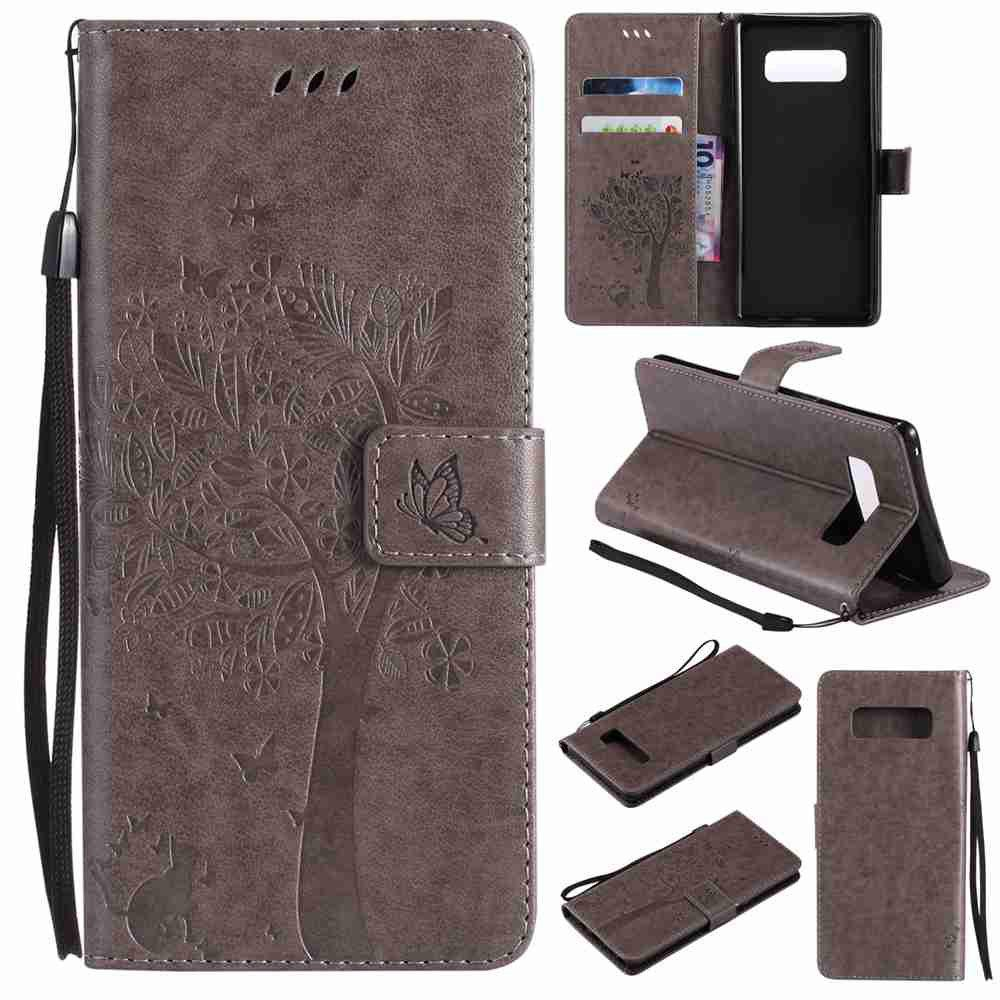 Outfit Embossed Cat and Tree PU TPU Phone Case for  Samsung Galaxy Note 8
