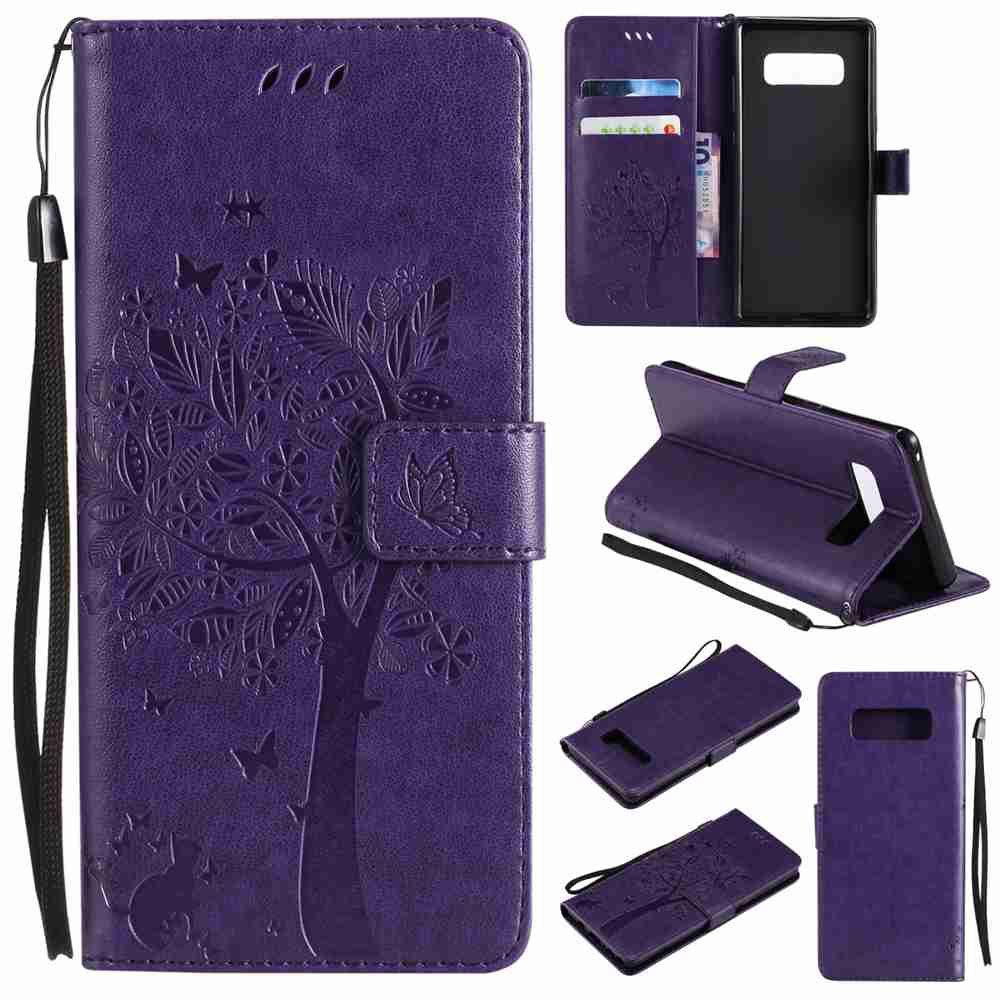 Trendy Embossed Cat and Tree PU TPU Phone Case for  Samsung Galaxy Note 8