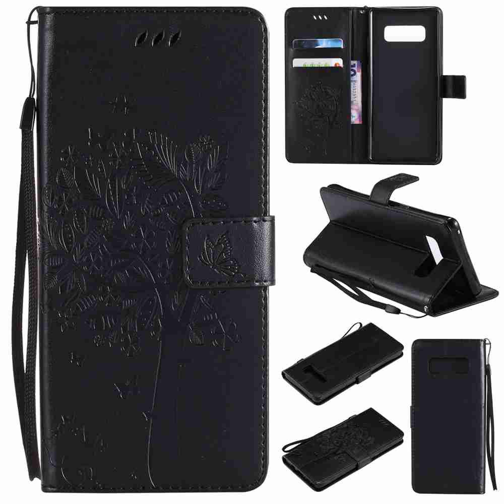 Best Embossed Cat and Tree PU TPU Phone Case for  Samsung Galaxy Note 8