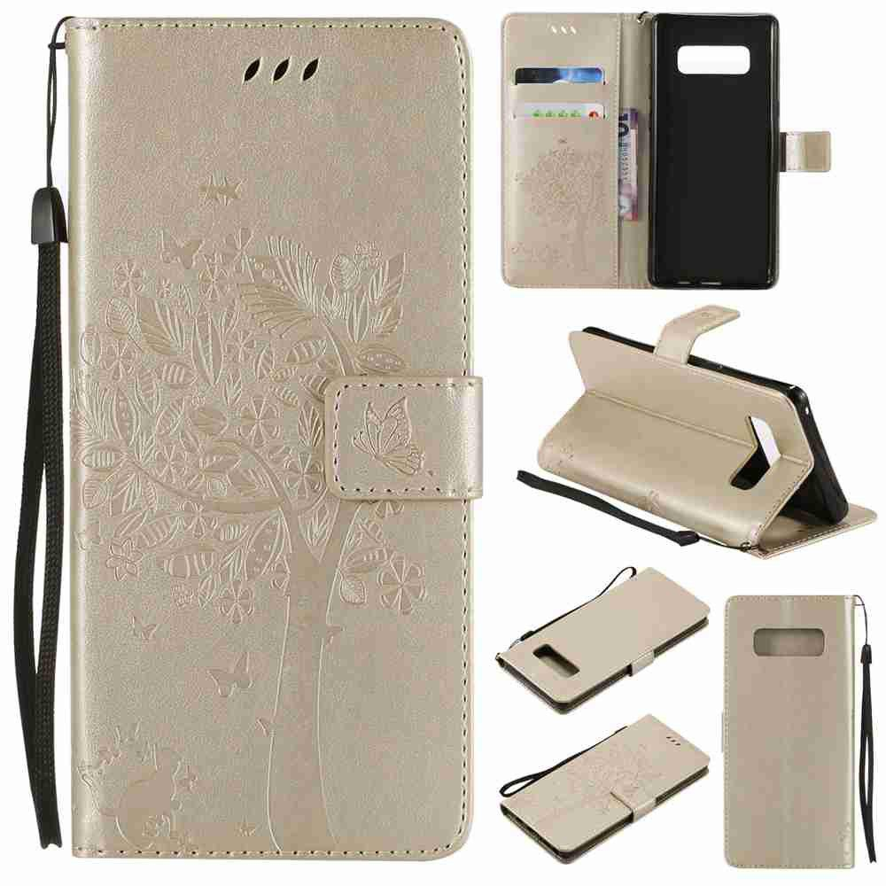 Hot Embossed Cat and Tree PU TPU Phone Case for  Samsung Galaxy Note 8