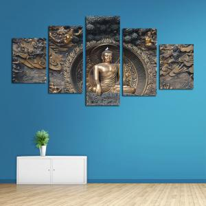 Framless Buddha Statue Neutral Canvas Print Wall Art Decoration 5PCS -