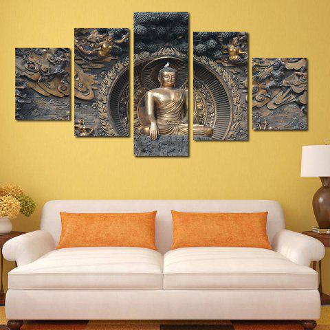 Unique Framless Buddha Statue Neutral Canvas Print Wall Art Decoration 5PCS