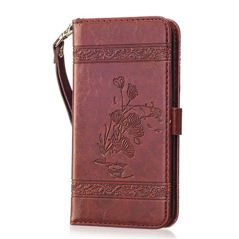 Store Genuine Quality Retro Style Oil Wax Flower Pattern Flip PU Leather Wallet Case for Samsung Galaxy S7