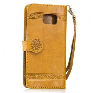Genuine Quality Retro Style Oil Wax Flower Pattern Flip PU Leather Wallet Case for Samsung Galaxy S7 Edge -