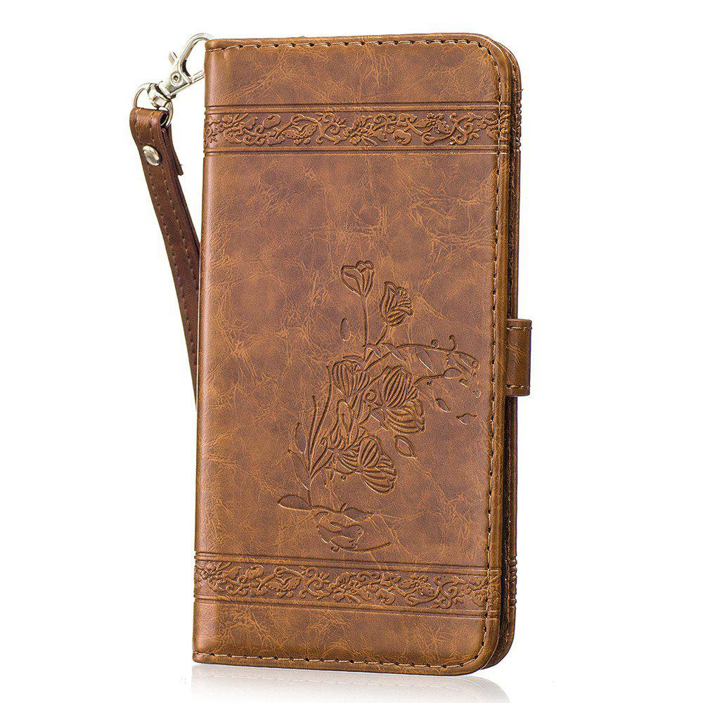 Buy Genuine Quality Retro Style Oil Wax Flower Pattern Flip PU Leather Wallet Case for Samsung Galaxy S7 Edge
