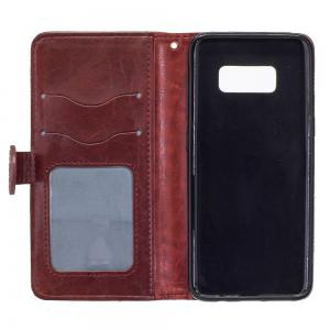 Genuine Quality Retro Style Oil Wax Flower Pattern Flip PU Leather Wallet Case for Samsung Galaxy S8 -