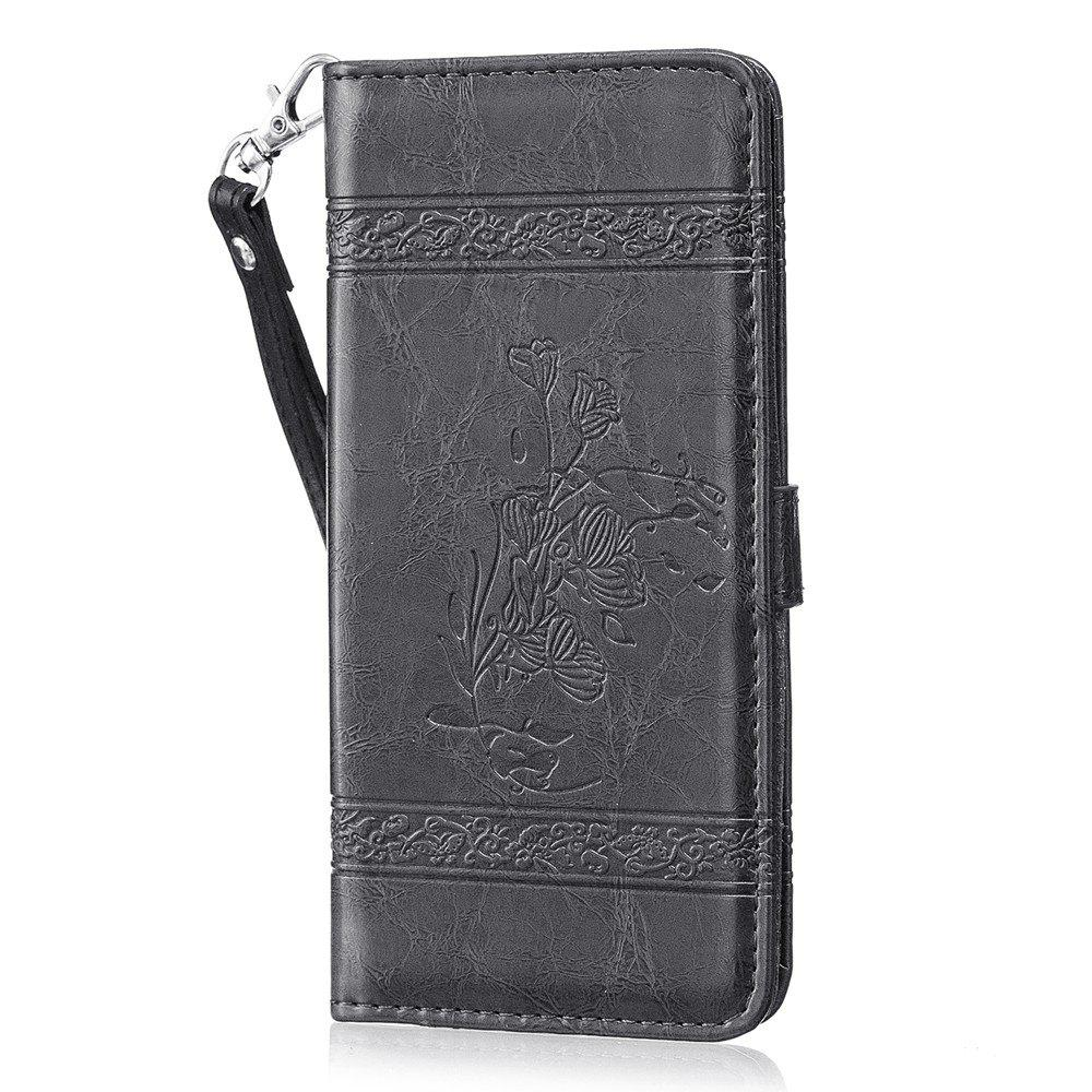 Sale Genuine Quality Retro Style Oil Wax Flower Pattern Flip PU Leather Wallet Case for Samsung Galaxy S8