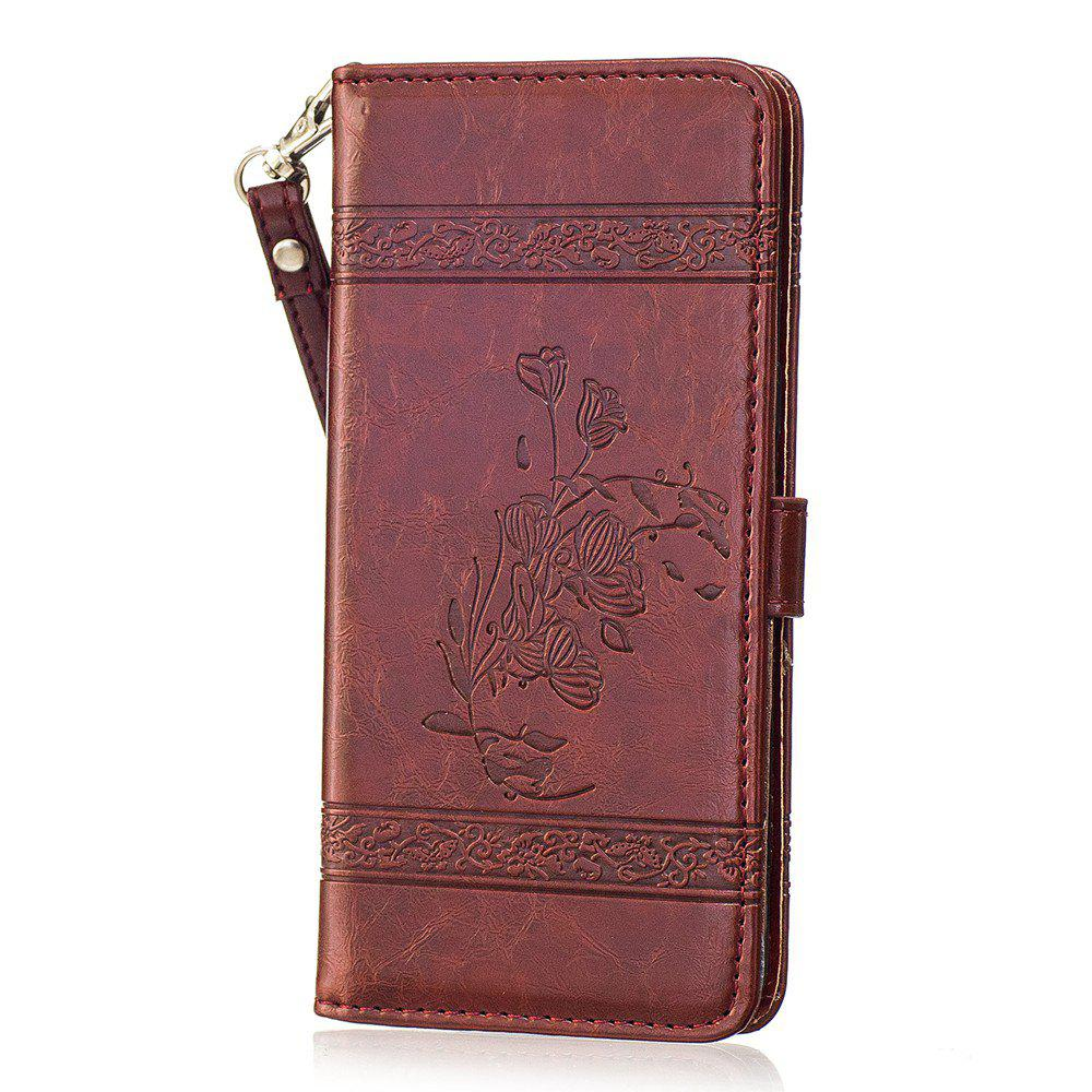 Outfit Genuine Quality Retro Style Oil Wax Flower Pattern Flip PU Leather Wallet Case for Samsung Galaxy S8 Plus