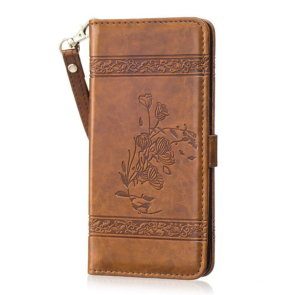Trendy Genuine Quality Retro Style Oil Wax Flower Pattern Flip PU Leather Wallet Case for Samsung Galaxy S8 Plus