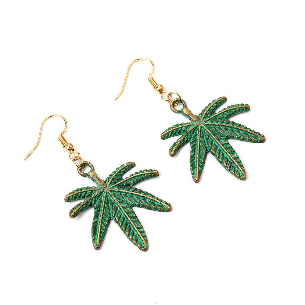 Outfits Simple Fashion Female Alloy Double Leaf Earrings