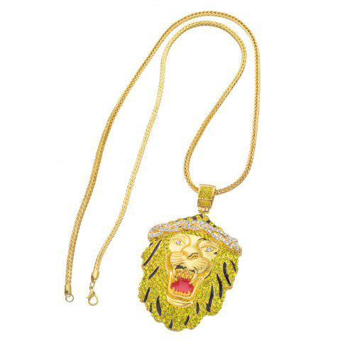 Online New Trend Lion Head Pendant Hip Hop Necklace