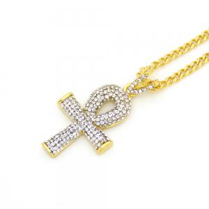 Egyptian Diamond Key Cross Necklace -